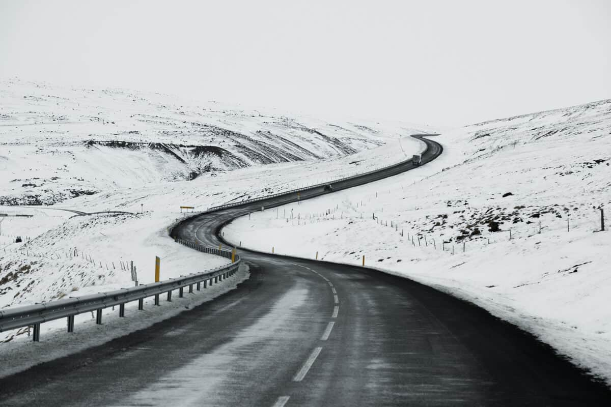Snow tires in Iceland are necessary for icy roads
