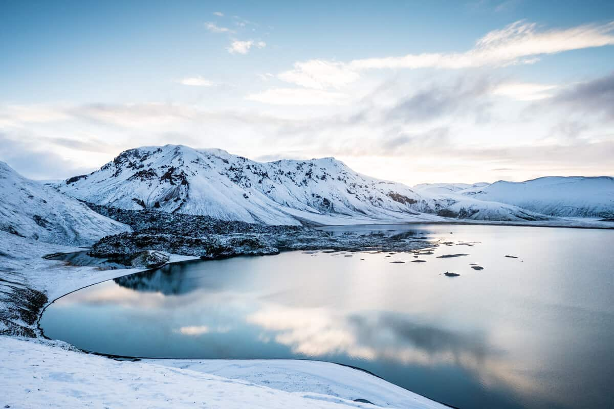 Snow tires in Iceland and landscapes