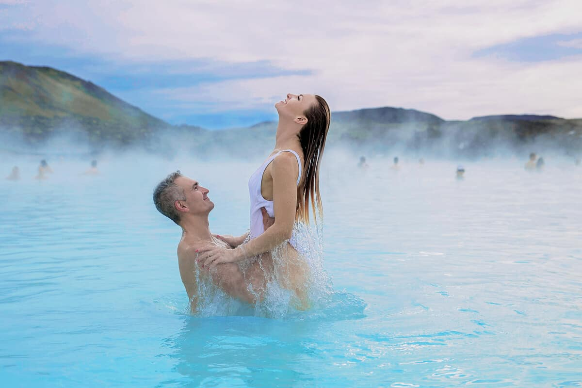 Iceland honeymoon couple at Blue Lagoon