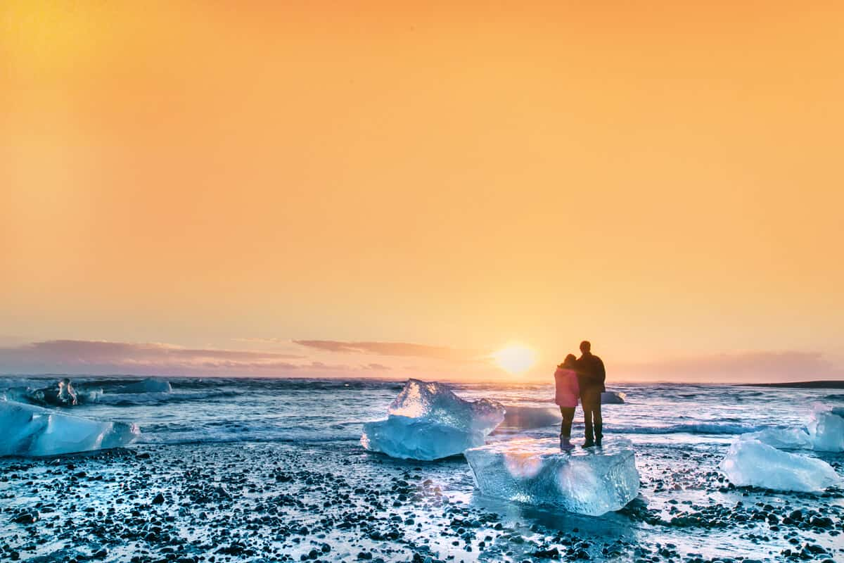 Iceland honeymoon Diamond Beach couple
