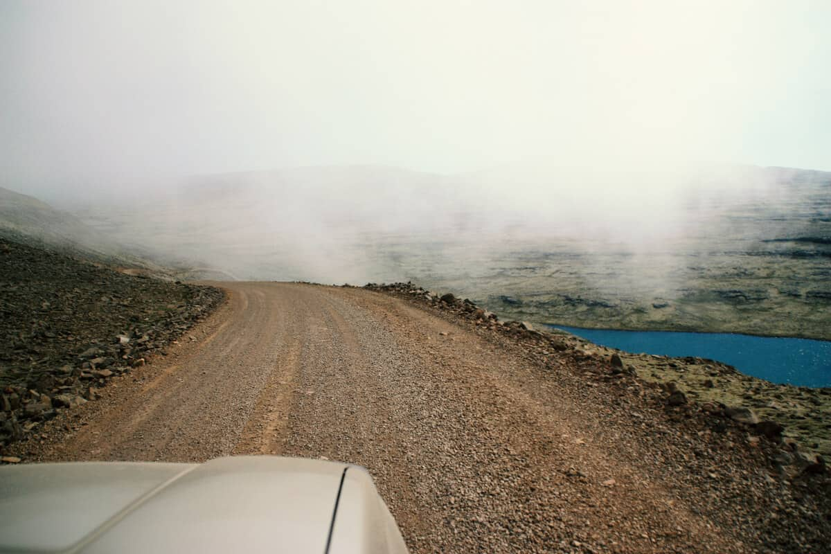 Sandstorms in Iceland road view