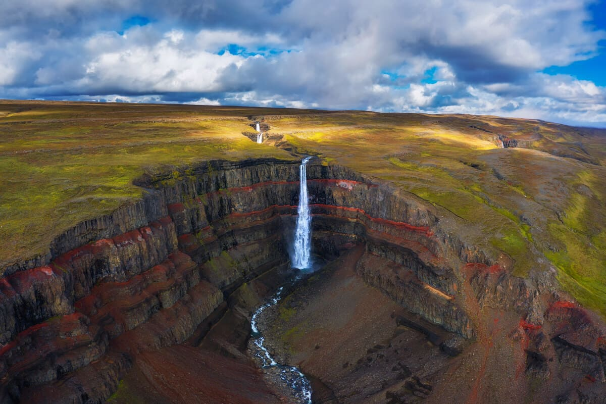 East fjords Iceland Hengifoss waterfall