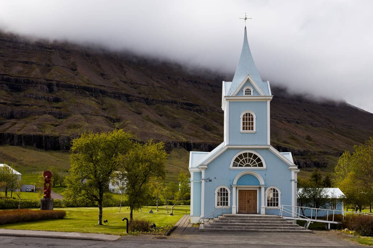 East fjords Iceland blue church in Seydisfjordur