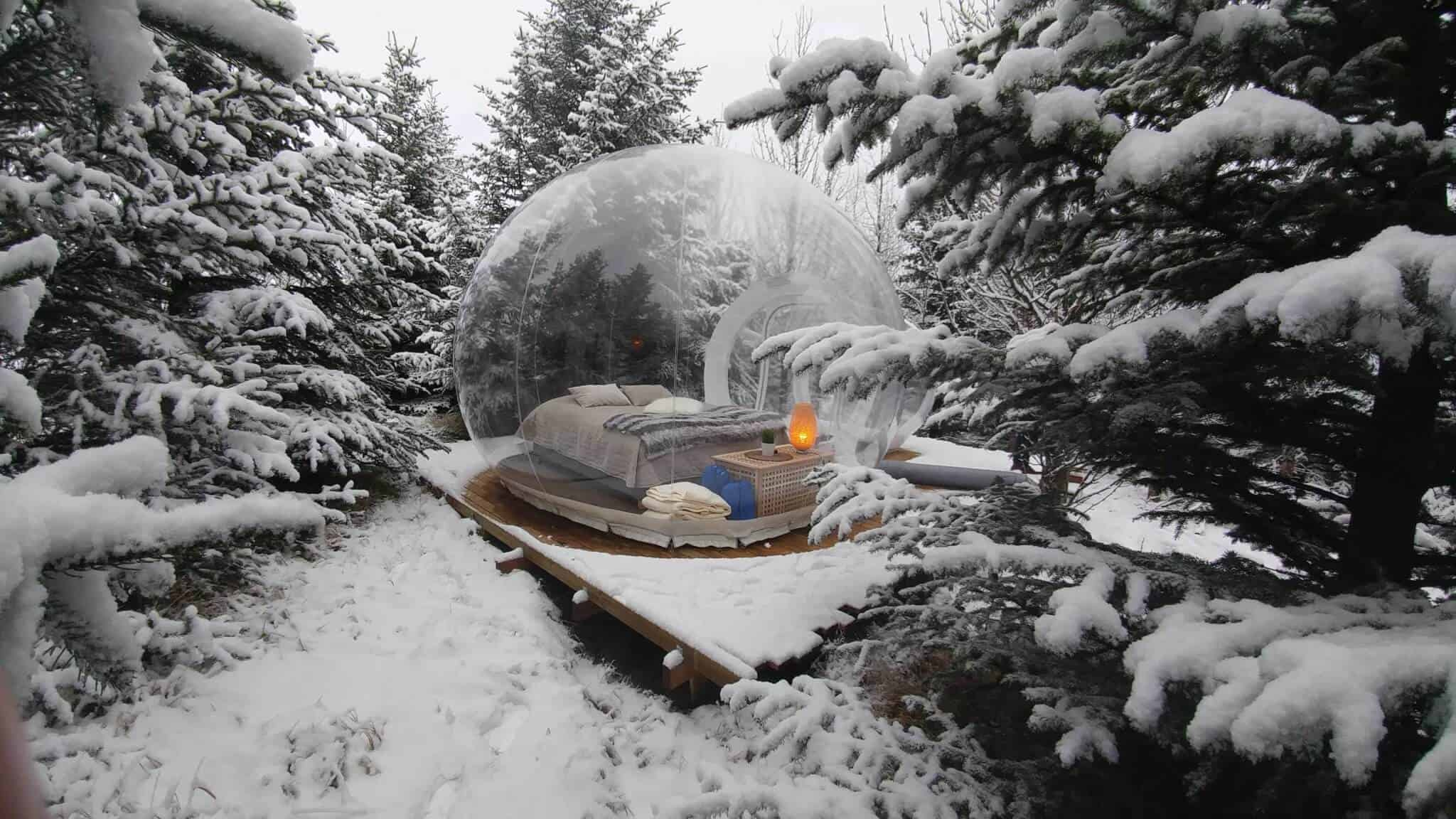 Iceland igloo hotel bubble in winter