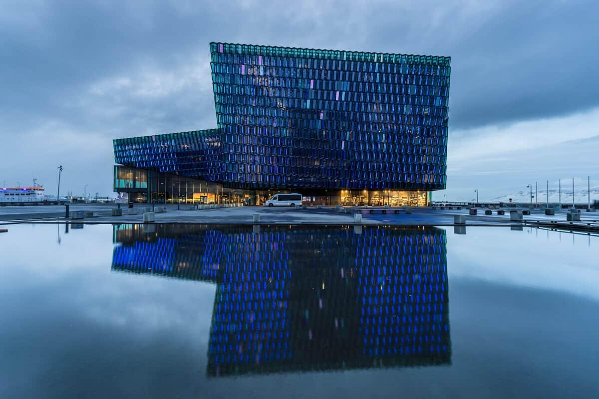 Reykjavik old harbor Harpa Concert Hall