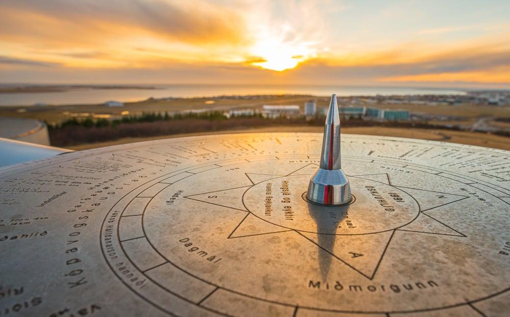 Perlan solar clock at Reykjavik
