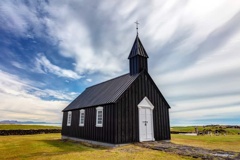 Black chuch in nature in Iceland