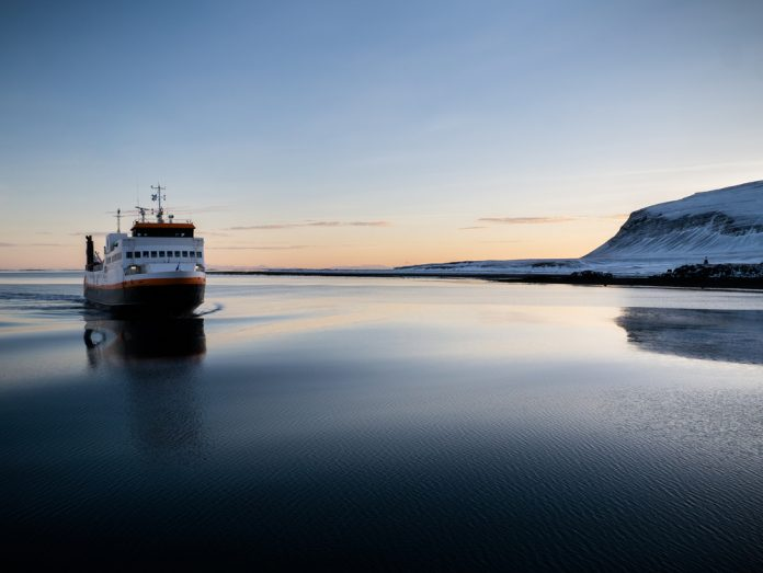 huge ferry in Iceland navigating to the port