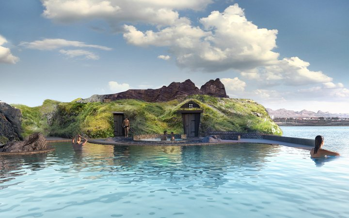 turf houses surrounding the sky lagoon thermal waters
