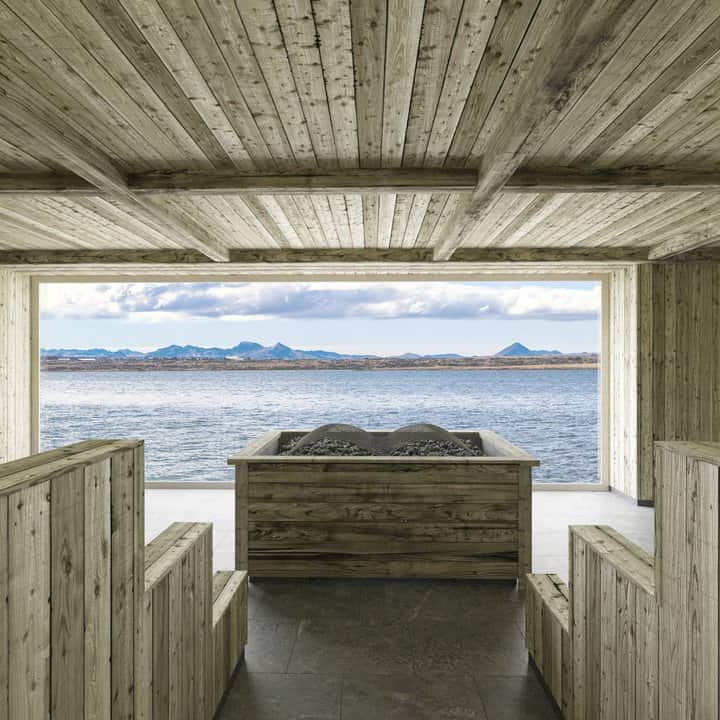Sauna area overlooking the ocean