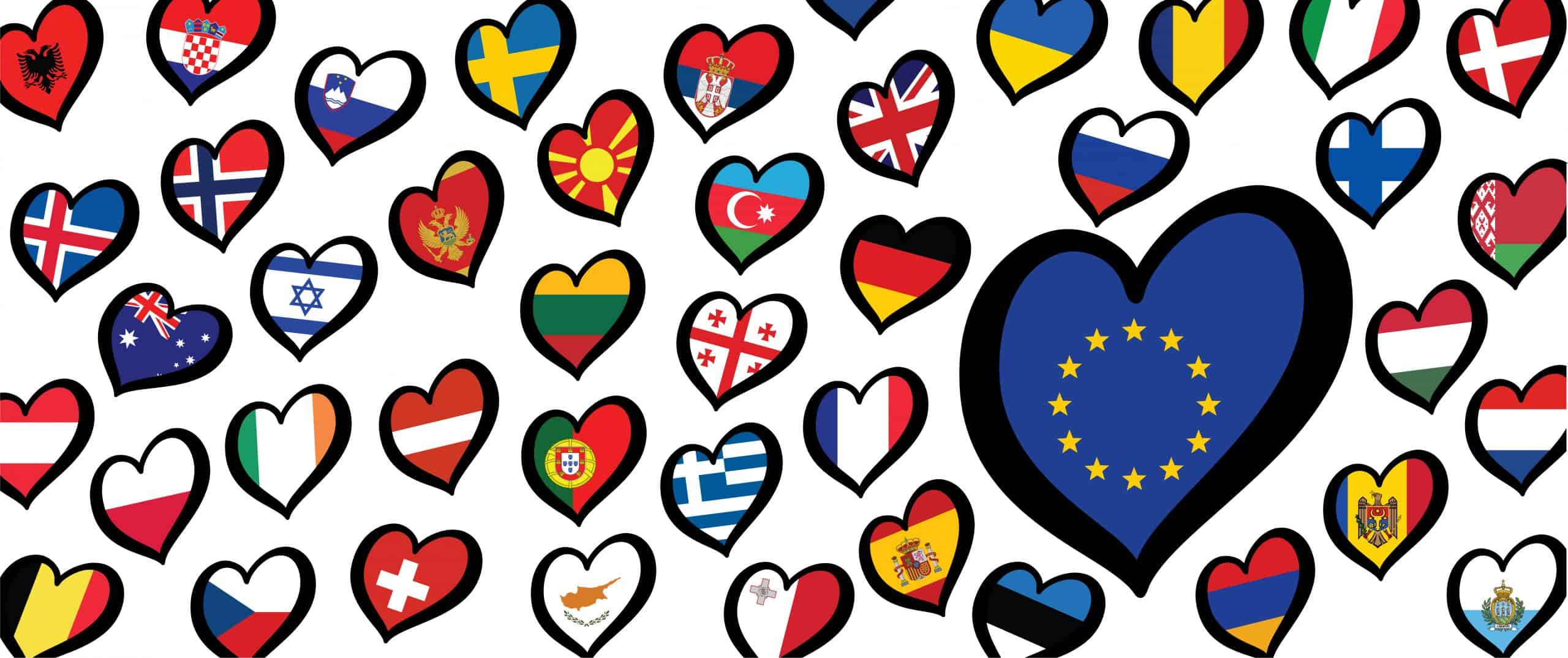 hearts with european flags on it representing eurovision