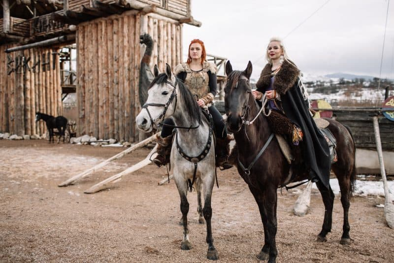 viking women riding horses